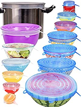 longzon Silicone Stretch Lids 14 Pack Include 2Pcs XXL Size up to 9.8   Diameter Reusable Durable Food Storage Covers for Bowl 7 Different Sizes to Meet Most Containers Dishwasher & Freezer Safe