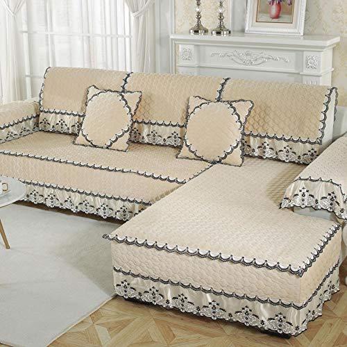 eaodz Plush Protective Cover Sofa Stretch Sofa Throw Sofa Cover Soft Thick Sofa Cover for Polyester 100 * 180+17Cm Lace