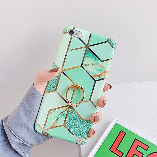 Saceebe Compatible avec iPhone 6S 4.7 Coque Silicone Motif Géométrique Marbre Housse Etui avec Anneau Support Bague Glitter Paillette Brillant Strass Ultra Fine Fille Case,Vert