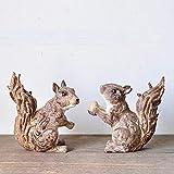 BHUIJN Figuritas Decorativas Ardilla De Estilo Rústico Retro Decoración Decoración del Hogar Jardín Patio Arreglo