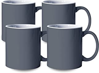 Serami 19oz Grey and White (In) Large Classic Mugs for Coffee or Tea. Large Handle and Heavy Duty Construction, Set of 4