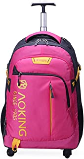 Trolley Backpack, Business Travel Computer Bag, Large Capacity Trolley Bag Light Universal Wheel (Color : Rose red, Size : 20 inches)