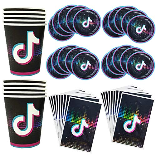 50 Pcs Nightclub Bar Musical Themed Party Supplies Decoration Set - Serves 10 Guests Including 10x 9' Plates, 10x 7' Plates, 10x9 Oz Cups, 20x Luncheon Napkins for Kids Adults Party Decorations