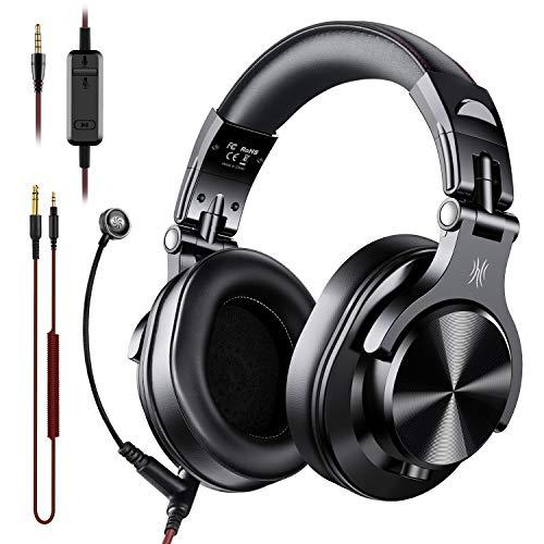 OneOdio A71 auriculares para PC con micrófono Boom - Oficina sobre oído auriculares con cable para reuniones de negocios Skype Call Center teléfono portátil Gaming PS4 Xbox One, auriculares con control de volumen y puerto compartido