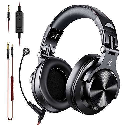 OneOdio A71 PC Headsets with Boom Mic - Office Over Ear Wired Headphones for Business Meeting Skype Call Center Phone Laptop Gaming PS4 Xbox One, Headsets with Volume Control and Share-Port
