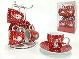 Juego de café para 4 servicios (taza y plato) con soporte
