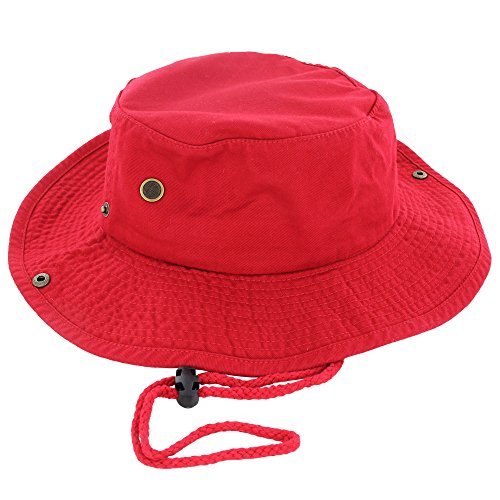 100 percentage Cotton Boonie Fishing Bucket Hat with String, Red, L and XL