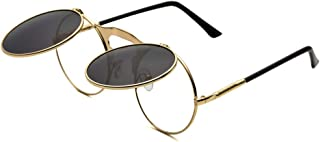 Round Sunglasses for Men Women 90's Retro Steampunk Style Flip Up Circle Sunglasses