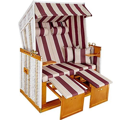 TecTake Zweisitzer Strandkorb + Premium Schutzhülle + 2 extra Kissen -Diverse Farben- (Rot-Weiß | Nr. 400842)