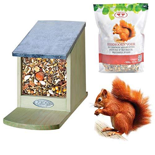 Unbekannt Futterhaus Eichhörnchen Futterautomat Futterstation inkl. 500 g Futter Squirrel