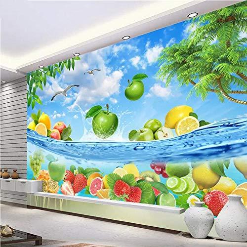 CQDSQN Fotos Blauer Himmel-weißes Wolken-Frucht-Küchen-Frucht-Geschäfts-Restaurant Wandgemälde 3D PVC Selbstklebend Wandaufkleber Tapete Kinder Junge Mädchen Karikatur Film Zuhause Schl(B)430x(H)300cm