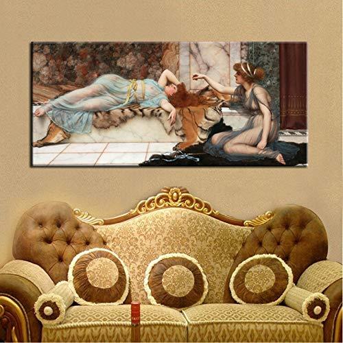 Poster und Drucke Wandkunst Leinwand Malerei Unheil Und Renoose von John William Waterhouse Classic Bildern, für Wohnzimmer Kein Rahmen (Size : (23.6x47.2inch)60X120cm No Frame)