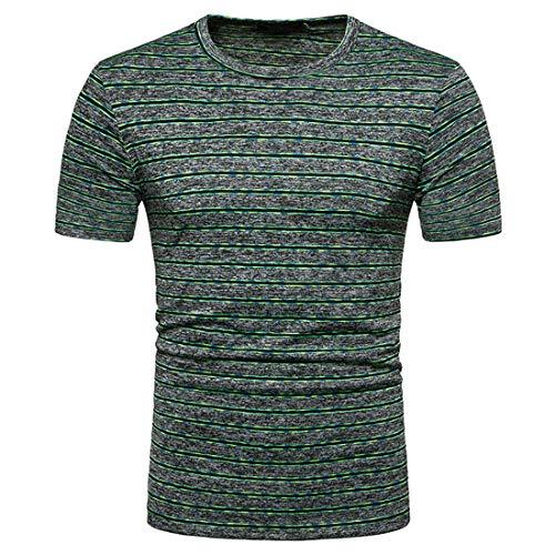 Deportiva Camisa Hombre Moderna Moda Rasgada/Rayas Hombre Verano Manga Corta Camiseta Cuello V/Cuello Redondo Jogging Allenamento Hombre Casuales Camisas B-Green S
