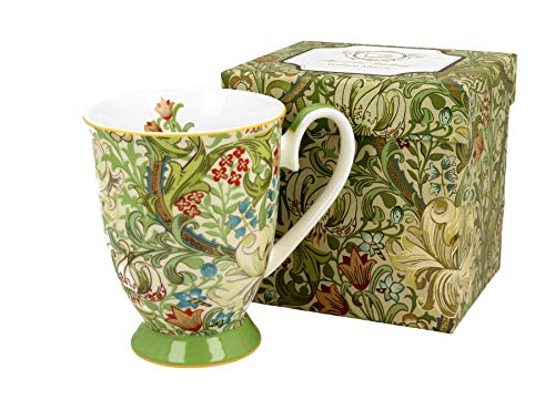 DUO Kaffeetasse Golden Lily William Morris mit Fuß 300ml große Tasse XXL Teetasse Kaffee-Tasse Tee-Tasse Tasse für Tee und Kaffee Blumenmotiv Kaffeebecher Porzellan Kaffee-Becher Teebecher Blumen