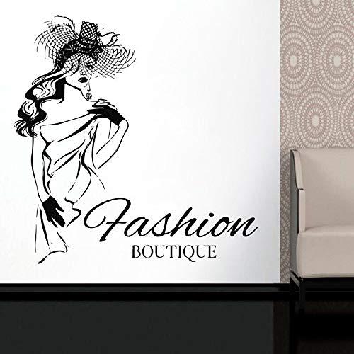 HNXDP Mode Boutique Kleidung Wandaufkleber Vinyl Home Decor Innenfenster Aufkleber Modell Kleid Hut Stil Wandbilder Poster A548 84x86cm