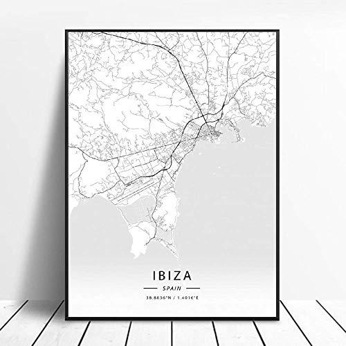 Kunstdrucke Leinwand Ibiza Spanien Schwarz-Weiß-Stadt Kunst Leinwand Poster Moderne Einfache Retro-Kunst Latitude Longitude Bild Home Decoration Hd-Print-Poster,Für Wohnzimmer Schlafzimmer,Kein Rahm