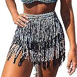 Mini jupe à paillettes pour danse du ventre, fête, club, été, plage, etc