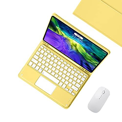 WYZDQ Funda De Teclado para iPad Pro 11 2021, Teclado Desmontable con Cubierta Magnética De Soporte Delgado, Caja De Teclado Bluetooth con Ratón Inalámbrico,Amarillo