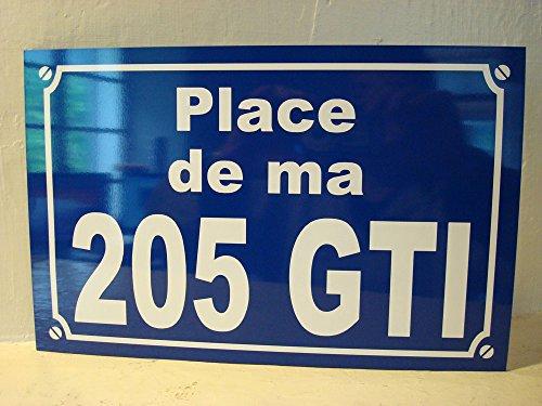Noir & Mat Sérigraphie Peugeot 205 GTI Plaque DE Rue 20 x 30 cm Création Originale idée Cadeau