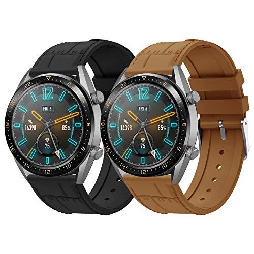 AOTVIRIS Compatible con Correa Huawei Watch GT 2 46mm/GT 2 Pro/Huawei GT 2e/Huawei Watch GT Sport/Active 22mm Silicona Banda Pulsera para Galaxy Watch 46mm/Gear S3 Frontier/Classic