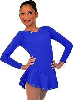 ChloeNoel DLF38 - Long Sleeve Fleece Figure Skating Dress with Crystals