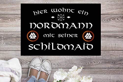 Fußmatte Nordmann mit Schildmaid Staubfangmatte Wikinger Vikings Heidentum Heiden Nordmänner Viking