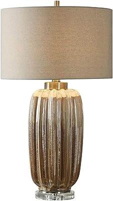 Maison Lampes de Table Lampe De Table en Céramique Salon Lampe De Table Basse American Hotel Chambre Lampe De Chevet Lampe Décorative (Color : Brown, Size : 38 * 75cm)