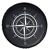 DKIIGAME Spare Tire Cover,Weatherproof Vinyl Leather Wheel Cover for Jeep Wrangler Sahara,Hummer H3,Toyota FJ,Trailer, RV, SUV, Truck (32'-33' Compass Print)