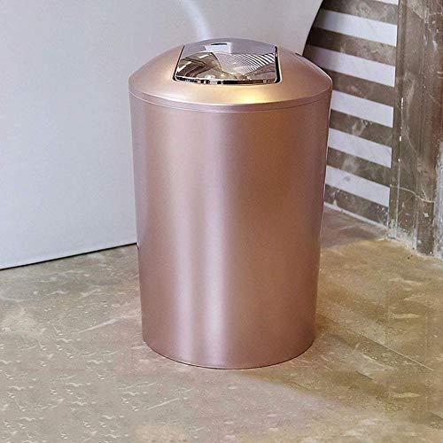 Cubo de Basura de baño con Tapa oscilante Moda de plástico Dormitorio Sala de Estar Inodoro Cubo de Almacenamiento Grande 10L Oro-Oro Rosa Fantastic