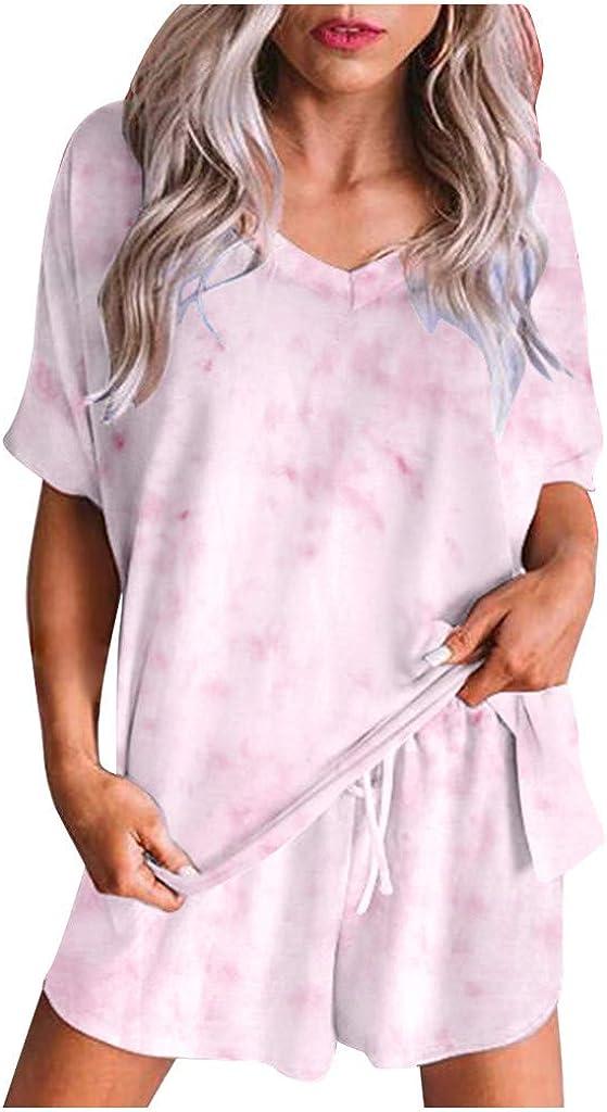 Women Tie SALENEW very popular Cheap super special price Dye Gradient Print Two Piece Short Sleeve Pajama Sets
