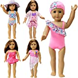 ZITA ELEMENT 5 Sets Bikini Swimwear Swimsuits for American 18 Inch Girl Doll and Other 18 Inch Dolls Summer Bathing Clothes Outfits
