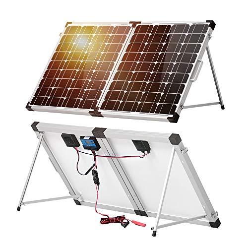 DOKIO - Panel solar de 100 W, 12 V, monocristalino, impermeable, sistema solar para el techo de la autocaravana, caravana, camping, jardín, RV, yate, cobertizo, furgoneta, barco