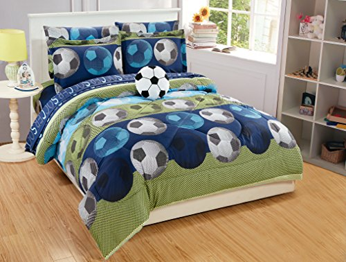 Mk Collection 8pc Full Comforter Set with Furry Soccer Pillow Soccer Light Blue Green Navy Blue White Black New