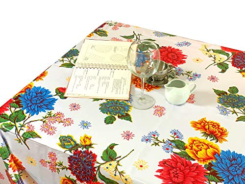 First Choice Vinyls - Waterproof Oilcloth Table Cloth - Wipeable Tablecloths for Picnic - Non-Fading Plastic Table Cover with Better Than Flannel Backing - Crysanthemums (55x90in Rectangle)