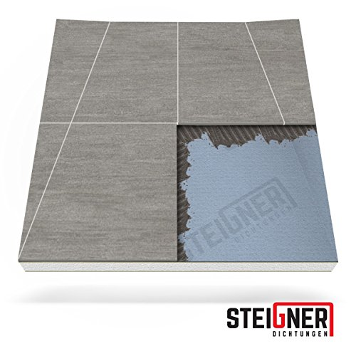 Duschelement MINERAL PLUS Duschboard befliesbar 120x140 cm Duschtasse - 70cm WANDABLAUF KURZSEITE - EPS Bodenelement ebenerdig