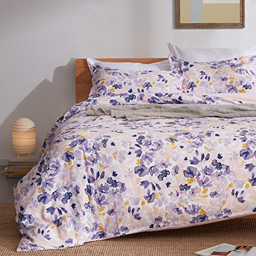 SLEEP ZONE Bedding Duvet Cover Sets Printed Watercolor Floral Pattern 120gsm Ultra Soft Zipper Closure Corner Ties, Purple, Twin