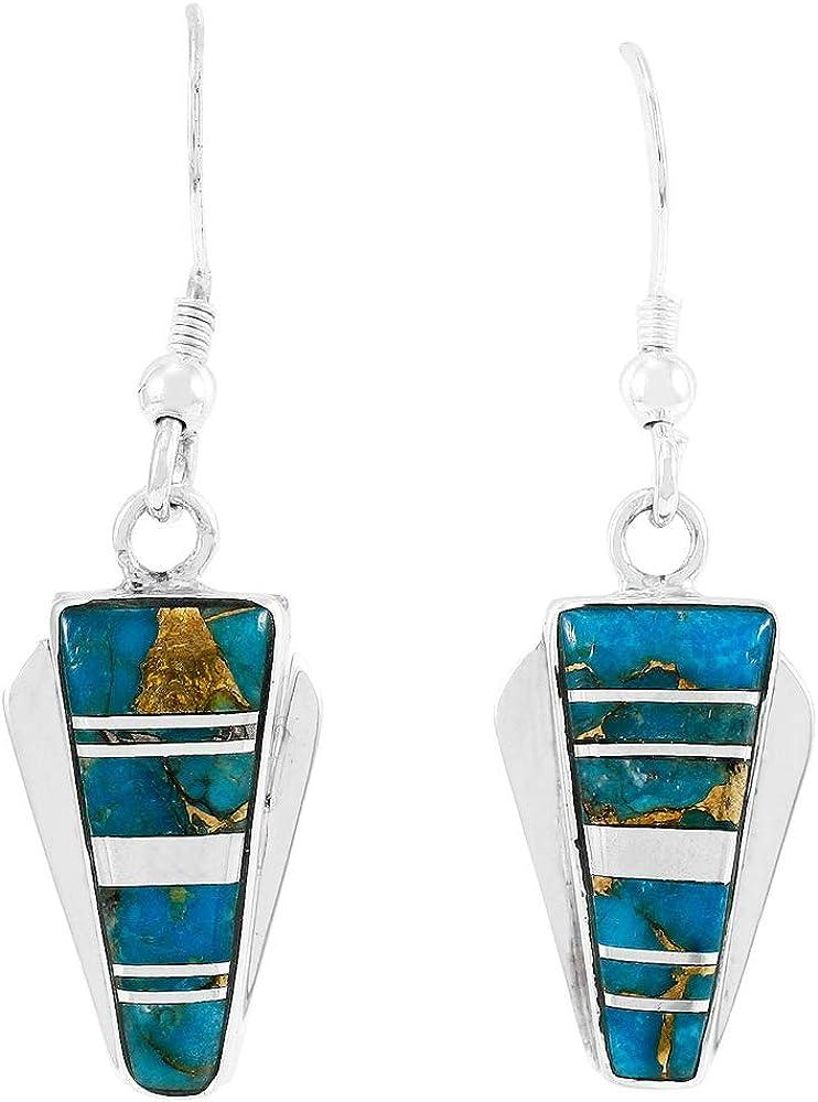 Gemstone Earring Midi Drop Earring Women Earring Anniversary Gift Purple Copper Turquoise Earring 925 Sterling Silver Delicate Earring