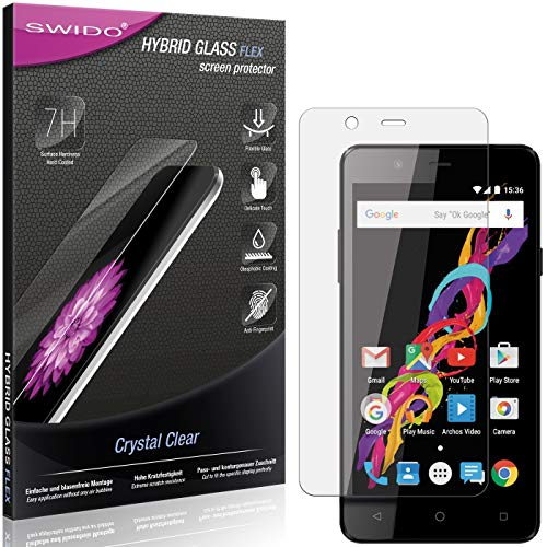 SWIDO Panzerglas Schutzfolie kompatibel mit Archos 50 Titanium 4G Bildschirmschutz-Folie & Glas = biegsames HYBRIDGLAS, splitterfrei, Anti-Fingerprint KLAR - HD-Clear