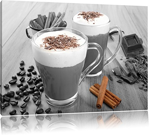 heiße Schokolade und frischer Kaffee mit Streuseln schwarz/weiß Format: 60x40 auf Leinwand, XXL riesige Bilder fertig gerahmt mit Keilrahmen, Kunstdruck auf Wandbild mit Rahmen, günstiger als Gemälde oder Ölbild, kein Poster oder Plakat