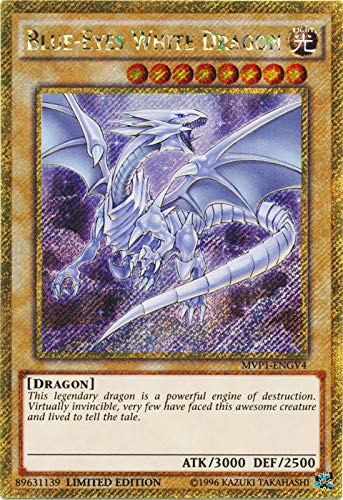 Yu-Gi-Oh - Blue-Eyes White Dragon - MVP1-ENGV4 - Gold Secret Rare - Limited Edition - the Dark Side of Dimensions Movie Pack Gold Edition (Limited Edition)
