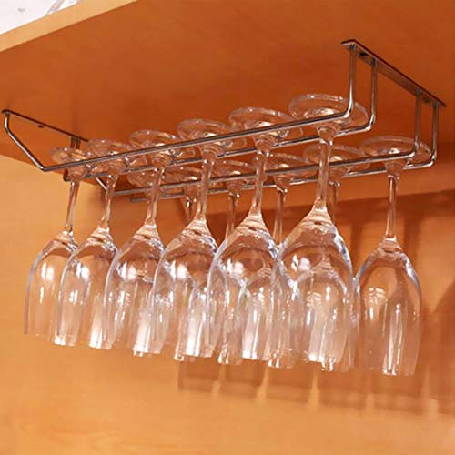 Syuantech 35Cm Zweireihig Weinglas Rack Wandhalterung Hängen Edelstahl Glashalter Bar Zubehör Champagner Lagerregal Rack Organizer Hängendes Regal für Bar Küche