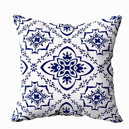 Bue Time Talavera Muster Portugal türkische Ornament Fliesen Mosaik spanisches Porzellan Keramik Geschirr Kissenbezüge, Silber Grün