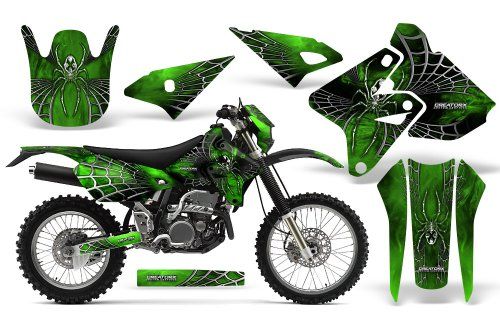 CreatorX Graphics Kit Decals Stickers for Suzuki Drz400 Drz400S Z400 E SpiderX Green Incl. Number Plate Graphics