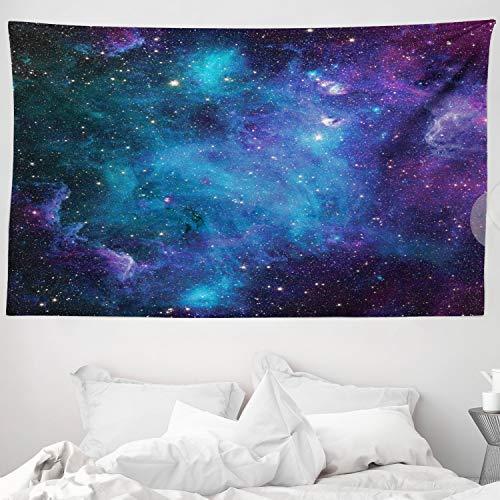 ABAKUHAUS Weltraum Wandteppich und Tagesdecke Galaxy Sterne im Weltraumaus Weiches Mikrofaser Stoff 230 x 140 cm Moderner Digitaldruck Navy Purple