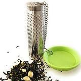 Kerafactum - Filtro de té extrafino de acero inoxidable, adecuado para botellas y cuellos de botella con cadena y soporte de té, cierre de bayoneta para termos