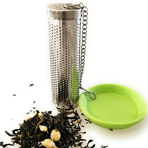 Kerafactum Filtre à thé - Passoire à thé - Filtre à thé extra fin en acier inoxydable - Convient pour les bouteilles et les goulot de bouteilles avec chaîne et revêtement à baïonnette - Pour thermos