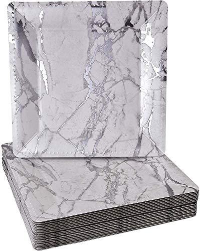 Quadratische Einweg-Ladeteller, Marmor, silberfarben, 20 Stück