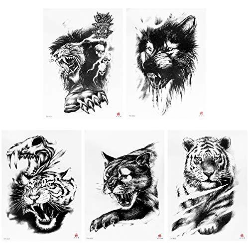 Lurrose 5Pcs Lion Temporaire Tatouages Noir Lion Étanche Autocollant de Tatouage pour Professionnel Make Up Danseur Costume