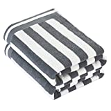 CASOFU Bath Towels, Cabana Stripe Beach Towels, Premium Cotton Bath Towels with Light Stripe - 100% Ring Spun Cotton Large Beach and Pool Towels - 2 Piece (Grey)
