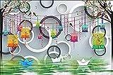 Papel pintado verde ondulado del círculo de la linterna geométrica moderna para el mural de la decor...